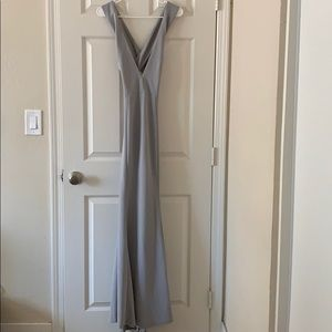 Gray V neck maxi dress open back